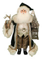 CHRISTMAS DECORATIONS - WOODLAND SANTA WITH REINDEER, TREE & LIGHTED LANTERN - COLLECTIBLE SANTA FIGURINES