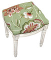 """WAVERLY MANOR"" FLORAL NEEDLEPOINT UPHOLSTERED STOOL - VANITY SEAT - GREEN - ANTIQUE WHITE FRAME"