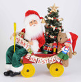 CHRISTMAS DECORATIONS - SANTA'S DELIVERY CART WITH TOYS & LIGHTED TREE - COLLECTIBLE SANTA FIGURINE