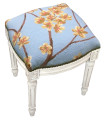 """FLOWER BLOSSOM"" NEEDLEPOINT UPHOLSTERED STOOL - VANITY SEAT - BLUE - ANTIQUE WHITE FRAME"
