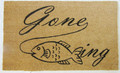 "GONE FISHING COIR DOORMAT - 18"" x 30"" - FISH WELCOME MAT - LODGE & LAKE HOUSE DECOR"