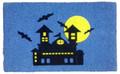 """HAUNTED HOUSE FLOCKED COIR DOORMAT - 18"""" X 30"""" - HALLOWEEN WELCOME MAT"""
