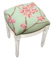 """FLOWER BLOSSOM"" NEEDLEPOINT UPHOLSTERED STOOL - VANITY SEAT - GREEN - ANTIQUE WHITE FRAME"