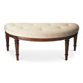 DEVONSHIRE UPHOLSTERED BENCH - OLIVE ASH BURL FINISH - FREE SHIPPING*