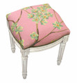 """FLOWER BLOSSOM"" NEEDLEPOINT UPHOLSTERED STOOL - VANITY SEAT - ROSE - ANTIQUE WHITE FRAME"