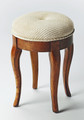 """KINGS CROSS"" UPHOLSTERED STOOL - VANITY STOOL - OLIVE ASH BURL FINISH - FREE SHIPPING*"