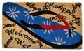 """FLORAL FLIP FLOPS COIR WELCOME MAT - 18"""" x 30"""" - BEACH DOORMAT"""