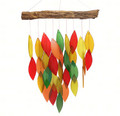 """AUTUMN LEAVES"" GLASS WATERFALL WIND CHIME - GLASS & WOOD - GARDEN DECOR"