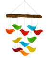 """BIRDS OF A FEATHER"" GLASS WIND CHIME - GLASS & DRIFT WOOD WINDCHIME - BIRD CHIME"