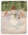 """WOODLAND SNOWMAN"" FLEECE THROW BLANKET - 50"" X 60"" - CHRISTMAS THROW"