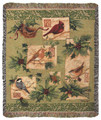 """CHRISTMAS BIRDS"" TAPESTRY THROW BLANKET - 50"" X 60"" - CHRISTMAS THROW"