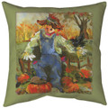 """SCARECROW IN PUMPKIN PATCH"" INDOOR OUTDOOR PILLOW - 18"" SQUARE"