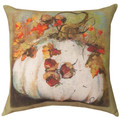 """PUMPKIN & FALL LEAVES"" INDOOR OUTDOOR PILLOW - 18"" SQUARE"