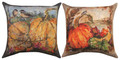 """CHICKADEES IN PUMPKIN PATCH"" INDOOR OUTDOOR REVERSIBLE PILLOW - 18"" SQUARE"