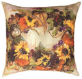 "SUNFLOWER & PUMPKIN WREATH INDOOR OUTDOOR PILLOW - 18"" SQUARE"