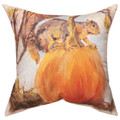 """BALANCING SQUIRREL"" INDOOR OUTDOOR PILLOW - 18"" SQUARE"