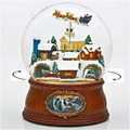 """HOME FOR THE HOLIDAYS"" MUSICAL SNOW GLOBE WITH ROTATING SANTA SLEIGH AND CARS"