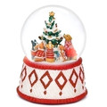 PUPPY DOGS & CHRISTMAS TREATS MUSICAL SNOW GLOBE - CHRISTMAS DECORATION