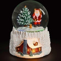 WOODLAND SANTA LIGHTED MUSICAL SNOW GLOBE - CHRISTMAS DECORATION