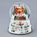CHRISTMAS VILLAGE TRAIN STATION MUSICAL SNOW GLOBE WITH ROTATING TRAIN