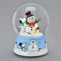 """SNOOPY & WOODSTOCK BUILD A SNOWMAN"" MUSICAL SNOW GLOBE - CHARLIE BROWN CHRISTMAS - PEANUTS"