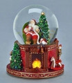 """CHECKING HIS LIST"" LIGHTED MUSICAL SANTA SNOW GLOBE - CHRISTMAS DECORATION"