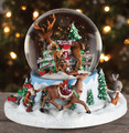 """SANTA'S HELPERS"" ROTATING MUSICAL SNOW GLOBE WITH ELVES AND REINDEER"