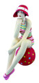 BATHING BEAUTY FIGURINE IN COLORFUL STRIPE BATHING SUIT ON POLKA DOT BEACH BALL