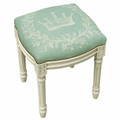 """PALAIS ROYALE"" IMPERIAL CROWN UPHOLSTERED STOOL -  AQUA LINEN CUSHION - ANTIQUE WHITE FRAME"