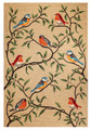 """""""COLORFUL SONGBIRDS"""" INDOOR OUTDOOR RUG - NATURAL -  42"""" x 66"""""""