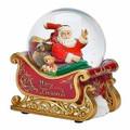 SANTA & TEDDY BEAR IN SLEIGH MUSICAL SNOW GLOBE - CHRISTMAS DECORATION