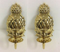 """PAIR OF """"CHARLESTON"""" POLISHED BRASS PINEAPPLE CANDLE WALL SCONCES"""