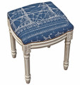 TALL SHIPS UPHOLSTERED STOOL - NAVY LINEN CUSHION - ANTIQUE WHITE FRAME