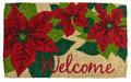 """POINSETTIA COIR WELCOME MAT - 18"""" X 30"""" - CHRISTMAS DOORMAT"""