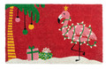 "FLASHY FLAMINGO CHRISTMAS DOORMAT - 17"" X 28"" - HOLIDAY WELCOME MAT"