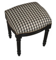 WESTHAMPTON UPHOLSTERED STOOL - BLACK PLAID SEAT CUSHION - BLACK FRAME