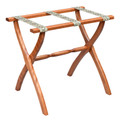 """LUGGAGE RACKS - """"WESTMINSTER"""" WOODEN LUGGAGE RACK - LIGHT WALNUT FRAME WITH PETIT POINT STRAPS"""