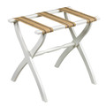 """LUGGAGE RACKS - """"WESTMINSTER"""" WOODEN LUGGAGE RACK - WHITE FRAME WITH BURLAP STRAPS"""