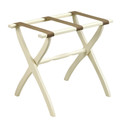 """LUGGAGE RACKS - """"WESTMINSTER"""" WOODEN LUGGAGE RACK - IVORY FRAME WITH BROWN NYLON STRAPS"""