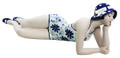 RECLINING BATHING BEAUTY FIGURINE IN BLUE & WHITE FLORAL BATHING SUIT
