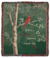 """""""WHEN A CARDINAL APPEARS, ANGELS ARE NEAR"""" TAPESTRY THROW BLANKET - 50"""" X 60""""  - GREEN BACKGROUND"""