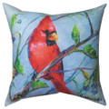 """""""CARDINAL IN BLUEBERRY PATCH"""" INDOOR OUTDOOR PILLOW - 18"""" SQUARE"""