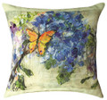 """BUTTERFLY & HYDRANGEA INDOOR OUTDOOR PILLOW - 18"""" SQUARE"""