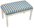 NANTUCKET SHORES UPHOLSTERED BENCH - BLUE PLAID SEAT CUSHION - WHITE WASH FRAME