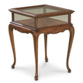 CHELMSFORD CURIO TABLE - GLASS TOP DISPLAY TABLE - PLANTATION CHERRY FINISH - FREE SHIPPING*