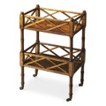 CHINESE CHIPPENDALE STYLE ROLLING SERVING CART - BAR CART - OLIVE ASH BURL - FREE SHIPPING*