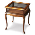 CHELMSFORD CURIO TABLE - GLASS TOP DISPLAY TABLE - OLIVE ASH BURL FINISH - FREE SHIPPING*