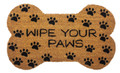 """WIPE YOUR PAWS"" DOG BONE COIR DOORMAT - 18"" x 30"" - DOOR MAT"