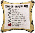 """DOG RULES""  THROW PILLOW - 12.5"" SQUARE - GIFTS FOR DOG LOVERS"