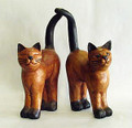 WOODEN CAT SCULPTURES - SET OF TWO